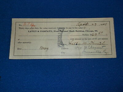 1924 Promissary Note To Laven & Company, Chicago Il W/revenue Stamp