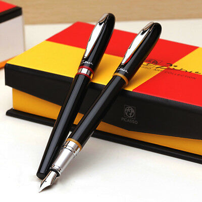 Picasso 907 Montmartre Fountain Pen Black and Yellow / Red Ring Writing Gift Pen