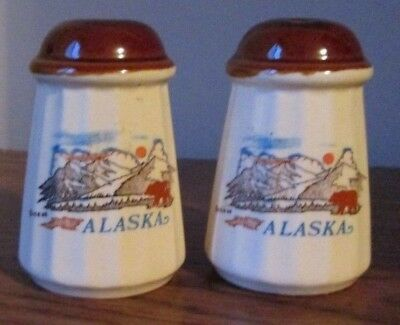 Alaska Salt and Pepper Shakers with Mountain Scene