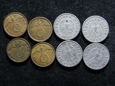 Lot OF 8  WW2 Reich  GERMAN WAR Time,  Coins With SWASTIKA ,   WW11