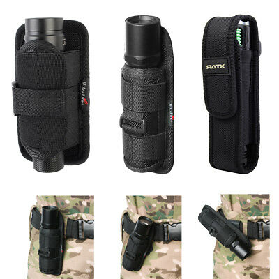 LED Flashlight Torch Lamp Nylon Pouch Holster Belt Carry Case Holder 3Size Black