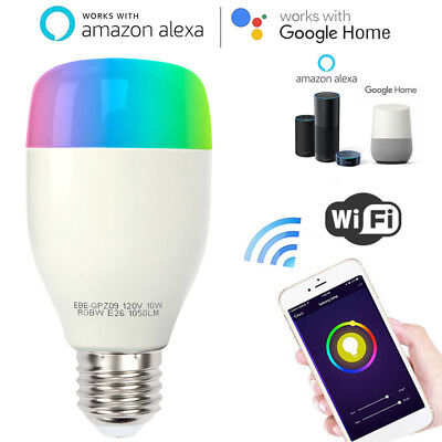 WiFi Smart Light LED Bulb 10W RGBW E26 E27 for Amazon Alexa Echo Google Home USA