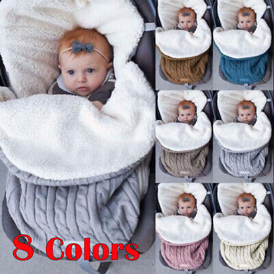 Newborn Baby Infant Knit Swaddle Wrap Swaddling Blanket Warm Sleeping Bag Hot UK