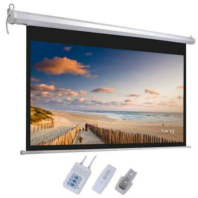 "92"" 16:9 Home Theater HD Matte White Electric Motorized Projector Screen +Remote"