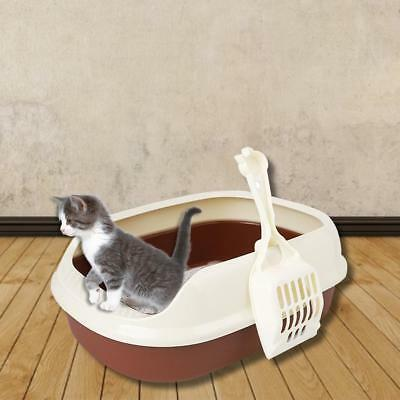 Large Cat Litter Tray Or Set With Bowls + Scoop Open Plastic Box Toilet Rim AU
