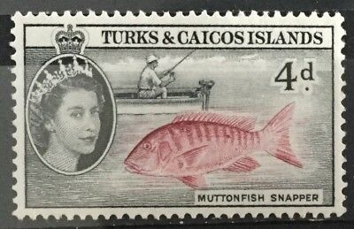 Turks and Caicos Islands 1957  4d. Muttonfish Snapper  SG242  Mtd.Mint