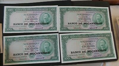 """Mozambique, 4 matching, overprint 100 Escudos Banknotes. All """"C"""". 3 Uncirculated"""