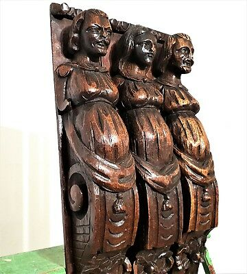 3 gothic figure hunting trophy corbel Antique french oak architectural salvage