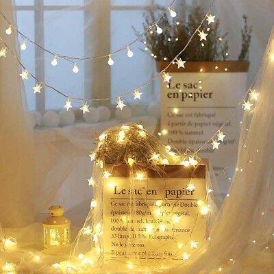 Five Pointed Stars Shape String Fairy Night Light Bottle Lamp Patio Dress Up CB