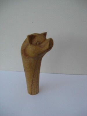 WOODEN CARVED  PIG  HEAD  STICK Handle  for Walking stickmaking