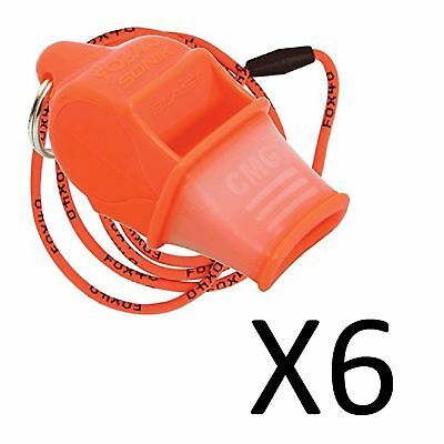 Fox 40 Sonik Blast CMG 2-Chamber Pealess Whistle with Lanyard, Orange (6-Pack)