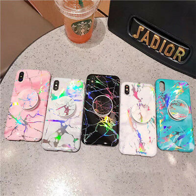 Marble Iridescent Holographic Holo Phone Case For iPhone X 7 With Pop Up Holder
