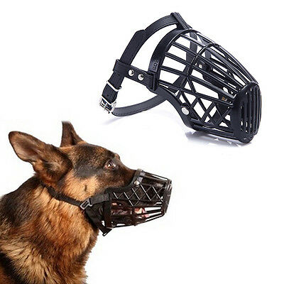1 X adjustable basket mouth muzzle cover for dog training bark bite chew cont LA
