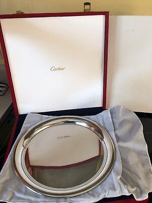 """CARTIER SERVING PLATTER TRAY PLATE 11"""" BOXED with cloth sleeve"""