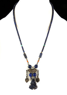 Afghani Necklace with Lapis Lazuli Beads and Silver Metal Pendant