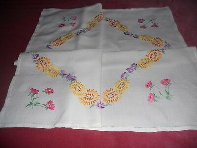 "Vintage cream LINEN 34"" x 31"" TABLECLOTH/TOPPER hand embroidered floral motif"