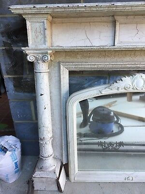 Large Antique victorian?  fireplace with mirror and Fender Carved Pillars Shabby