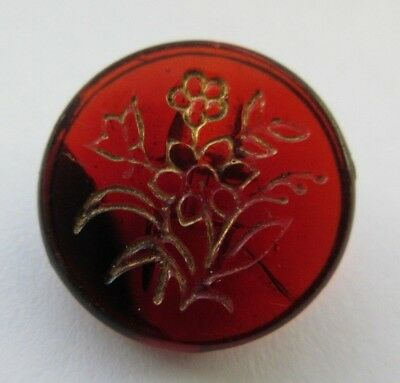 Gorgeous Antique~ Vtg Victorian Ruby Red GLASS BUTTON Incised Gold Flowers (N)