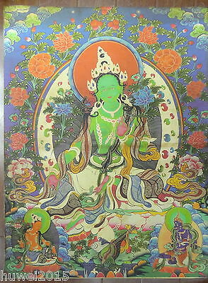 90CM Old Mysterious Tibetan hand-painted Cotton Thangka TK002