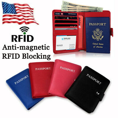 RFID Blocking Passport Holder Travel Wallet Leather Case Cover Securely Holds