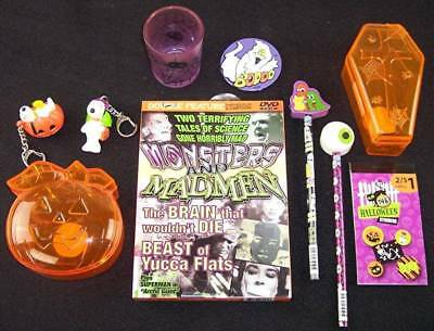 NEW 10 Pc. Halloween Fun Lot, 2 Snoopy Keychains, Horror DVD, Treat Boxes, Etc.