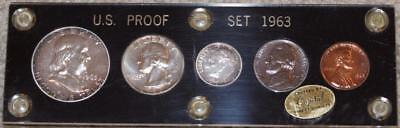 1963 U.S. SILVER Proof Set in Black Capital Coin Holder Toning in silver coins