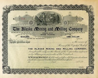 Alaska Mining and Milling Co Stock Certificate Un-issued Circa 1890's COLORADO