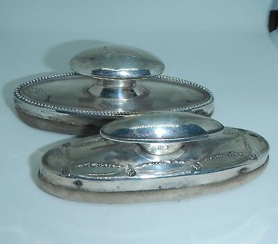 Two Pretty Antique Edwardian Silver Hallmarked Nail Buffers~Polishers