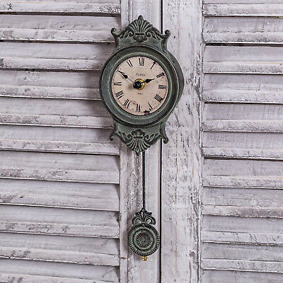 Grey Pendulum Wall Mounted Clock Ornate Roman Numerals Shabby Vintage Chic Home