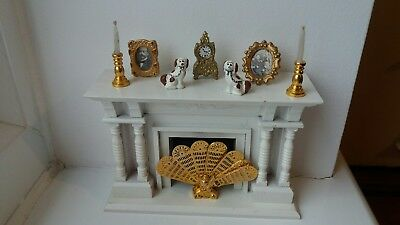 Dolls House Miniatures 1/12 White Fireplace + Accessories Clock Pictures Candles