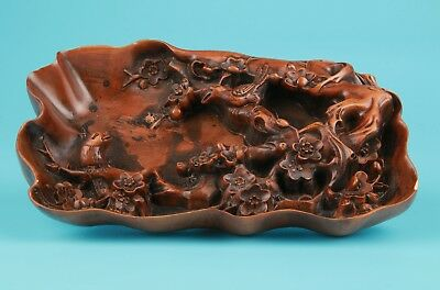 Antique Boxwood Japanese Hand Carved Plum Statue Magpie Plate Pen Wash Rare