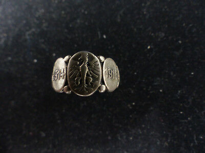 Antique Wwi 1914-1918 Extremely Rare Sterling Silver Ring
