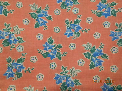 Vintage Closed FEEDSACK FEEDBAG Quilt Fabric Blue White Flowers Pink Background