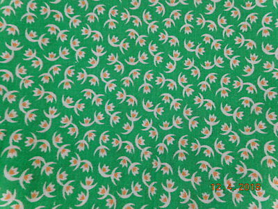 Vintage Closed FEEDSACK FEEDBAG Quilt Fabric White Red Flowers Green Background