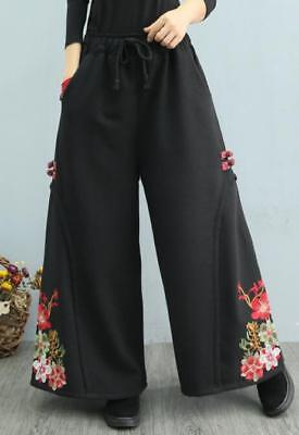 Womens Ladies Vintage Embroidery Thicken Fleece Lined Wide Legs Trousers SZ G684