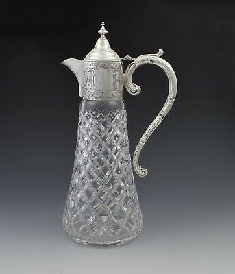 Sterling Silver Mounted Cut Crystal Claret Jug Charles S. Green & Co. Ltd