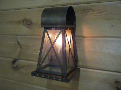Solid Brass Light Fixture Sconce Wall Porch Antique Lantern 17 18th Century NOS