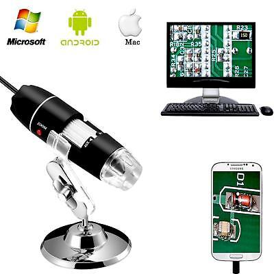 1600X 8LED USB 2.0 Digital 2MP Microscope Endoscope Zoom Camera Magnifier+Stand