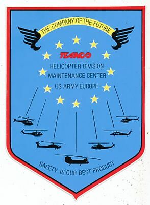 Avion Aviation Autocollant Teamco Helicopter Division Maintenance Center Us Army