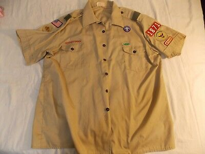 BSA Boy Scouts of America Official Shirt Mens XXL Large tan short sleeve