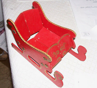 "Wood Folding Santa's Sleigh Wood Collapsible Christmas Decor 7 x 5 x 4"" VTG Red"