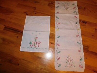 Christmas Cross Stitch Table Runners Elf Candy Cane COMPLETED Handmade