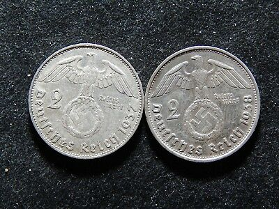 Lot OF 2  WW2, Reich   GERMAN WAR Time, Silver Coins With SWASTIKA ,   WW11