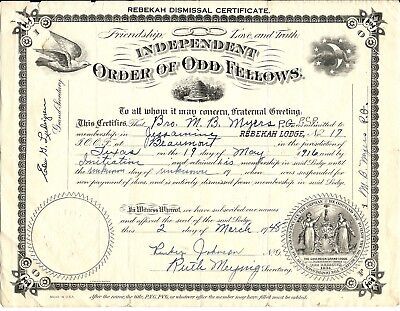 Beaumont,tx I.o.o.f.-Independent Order Of Odd Fellows Certificate With Mystic Sy