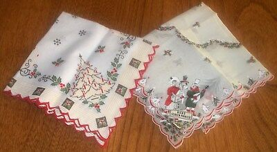 Lot of 20 Vintage Christmas Handkerchiefs New & Used Printed Embroidered