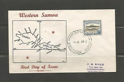 Western Samoa 1949 5d Def FDC to NZ on illustrated FDC with Apia pmk. SG205