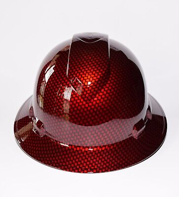 Custom Ridgeline WideBrim Hard Hat Hydro Dipped Big Weave Candy Apple Red Carbon