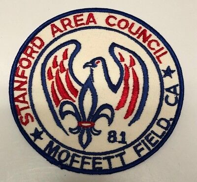 "1981 Stanford Area Council Moffett Field California Jacket Patch 6"" Bsa"