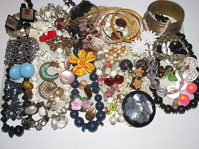 52 Piece Lot Of Vintage Costume Jewelry, Cluster Earrings/Necklaces, Etc. Lisner