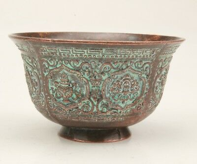Chinese Old Bronze Handmade Lotus Statue Teacup Home Embossment Pattern